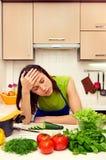 Ermüdete Frau Stockbild