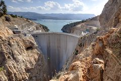 Ermenek Dam / HEPP. This is the Ermenek Hydro Power Plant taken in south Turkey. the project is finished but the maximum water level is not reached up to now Stock Photos
