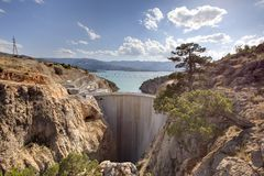 Ermenek Dam / HEPP. This is the Ermenek Hydro Power Plant taken in south Turkey. the project is finished but the maximum water level is not reached up to now Royalty Free Stock Photo