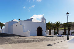 Ermita de San Marcial del Rubicón. Already in the year 1404 the church of Rubicón had been the first seat of the canary bishop. Then the Cathedral of San stock photography