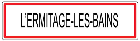Ermitage les Bains city traffic sign illustration in France Stock Image
