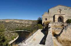 Ermitage van San Frutos, Hoces del Duraton, Segovia provincie, Kuuroord Stock Foto