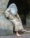 Ermite barbu s'asseyant à la roche Image stock