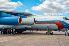 Ermolino, Russia - August 15, 2015: Airplane Ilyushin Il-76 of Russian Air Force royalty free stock images