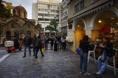 Ermou街在雅典 免版税库存图片