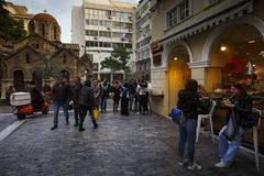 Ermou gata i Aten Royaltyfri Bild