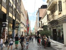 Ermou shopping street in Athens, Greece Stock Photos
