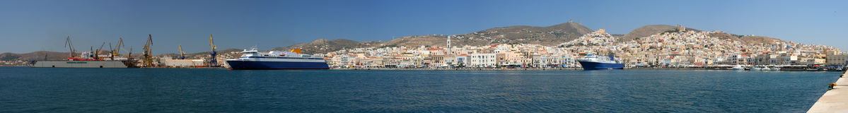 Ermoupoli panorama. This is a panorama of Ermoupoli, the capital of Syros and Cyclades, Greece Stock Photography