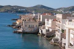 Ermoupolis bij eiland Syros Stock Foto