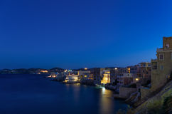 Ermoupolis by night, the capital of Syros island, Cyclades, Greece Stock Photo