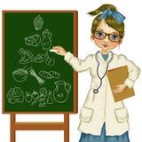 Ernährungswissenschaftler mit Tafel Stockbilder