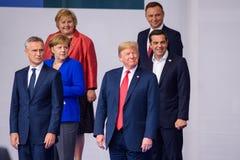 Erna Solberg, Angela Merkel, Jens Stoltenberg, Donald Trump, Alexis Tsipras, Andrzej Duda royalty-vrije stock foto's