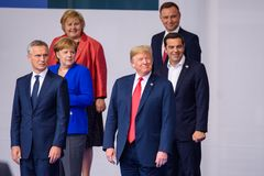 Erna Solberg, Angela Merkel, Jens Stoltenberg, Donald Trump, Alexis Tsipras, Andrzej Duda fotos de stock royalty free