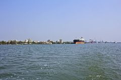 Ernakulam port. Oil-loading terminal in the Ernakulam port, view from the Arabian sea Stock Photography