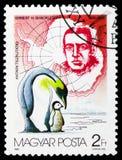 Ernest H Shackleton, forsteri do Aptenodytes do pinguim de imperador, serie antártico dos exploradores, cerca de 1987 fotos de stock