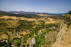 Ernest hemingway point of view. Overlooking the valley in Ronda, Spain Royalty Free Stock Images