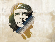 Ernesto Che Guevara. Illustration on a wall of ernesto che guevara in cuba