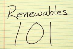 Erneuerbare Energiequellen 101 auf einem gelben Kanzleibogenblock Lizenzfreie Stockfotos