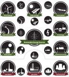 Erneuerbare Energiequellen - Ikonen-Satz Lizenzfreie Stockfotos