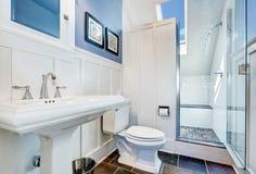 Erneuerndes blaues Badezimmerdesign mit Steinfliesenboden Lizenzfreies Stockfoto