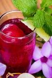 Erneuerndes tropisches Cocktail mit frischen Blumen Stockbilder