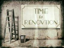 Erneuerung auf Gebäudewand, Zeit zur Erneuerung Stockfotografie