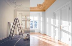 Erneuerungskonzept - Raum vor und nach Erneuerung, stockbild