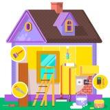 Erneuerungswohnung Hauptinnenraum und Reparaturen zu Hause Vektorillustration in einer flachen Art Stockfotos