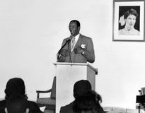 Ernie Banks. Hall of Fame Major League baseball player, Ernie Banks speaks at an inter-generational program at the Southeast Multipurpose Center for Elderly and Royalty Free Stock Photos