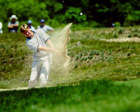 Ernie Els in the sand. stock photography