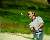 Ernie Els in the sand. Royalty Free Stock Photos