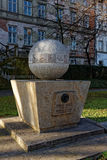 Ernst Abbe. Monument of Ernst Abbe and the formula of the resolution limit of the microscope, in front of Jena University Stock Photo