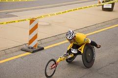 Ernst Van Dyk. 2009 Boston Marathon men's wheelchair race winner Ernst Van Dyk just past mile marker 4 in Ashland. MA Royalty Free Stock Image