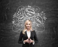 Ernste blonde Frau und Unternehmensplanskizze auf Tafel Lizenzfreies Stockbild