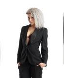 Ernste blonde Geschäftsfrau Lizenzfreie Stockbilder