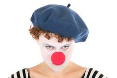 Ernste Clownfrau stockbild