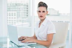Ernste Geschäftsfrau, die zu Hause arbeitet Stockbild
