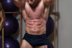 Ernste Männer, die in der Turnhalle stark stehen und Muskeln biegen Lizenzfreie Stockbilder