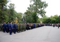 Ernster Bau in der ersten Moskau-Militärschule Stockbild