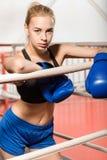 Ernster blonder weiblicher Boxer, der Sie herausfordert Lizenzfreie Stockfotografie