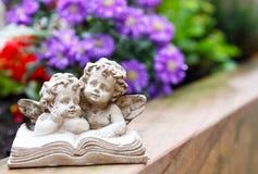 Ernster Engel vor Blüten stockbild