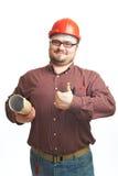Ernster Erbauer in den Gläsern und im roten harten Hut lizenzfreie stockfotos