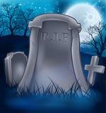 Ernster Friedhofs-Halloween-Hintergrund Stockbild