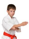 Ernster Junge im Kimono Lizenzfreie Stockfotografie