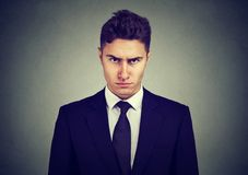 Ernster junger Geschäftsmann, der Kamera betrachtet Stockfotos