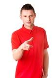 Ernster junger Mann, der Sie zeigt Lizenzfreies Stockbild
