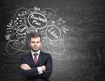 Ernster Mann mit roter Bindung und Unternehmensplanskizze Stockfotografie