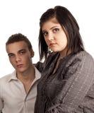 Ernster Teenager im Bürokleid stockfotos