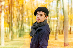 Ernster Teenager im sonnigen Park des Herbstes Stockbild