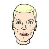 ernstes männliches Gesicht der komischen Karikatur Stockfoto